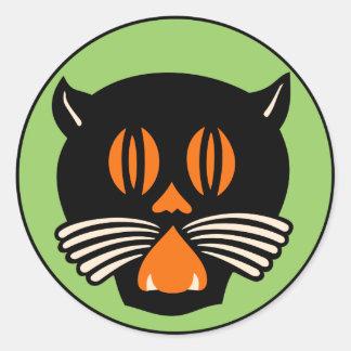 Pegatina del gato negro de Halloween del vintage