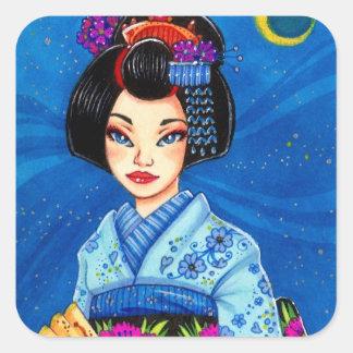 Pegatina del geisha de la noche estrellada