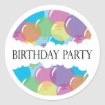 Pegatina del globo de la fiesta de cumpleaños