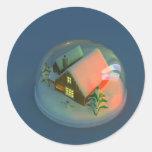 Pegatina del globo de la nieve de la casa del