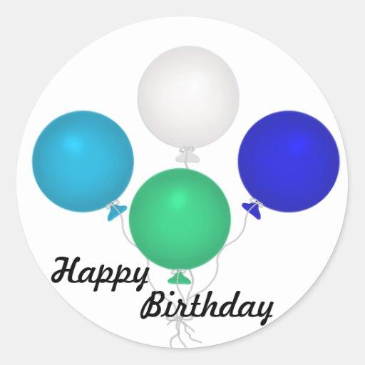 Pegatina del globo del feliz cumpleaños