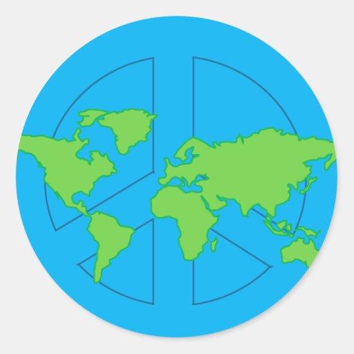 Pegatina del globo del signo de la paz