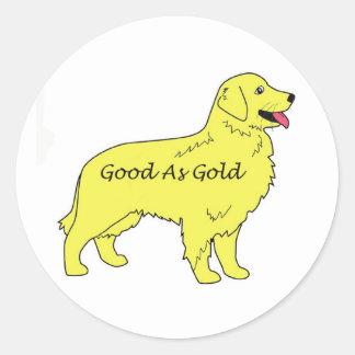 Pegatina del golden retriever bueno como oro