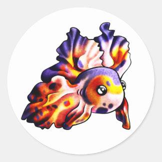 Pegatina del Goldfish de Goldie redondo