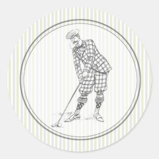 Pegatina del golf del vintage - golfista del
