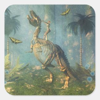 Pegatina del guerrero del dinosaurio