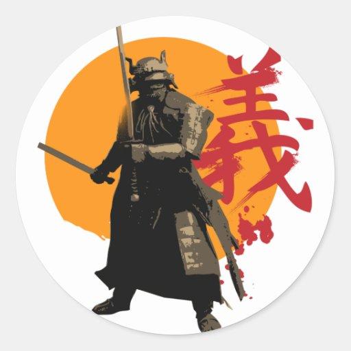 Pegatina del guerrero del samurai