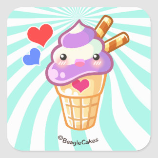 Pegatina del helado de Kawaii