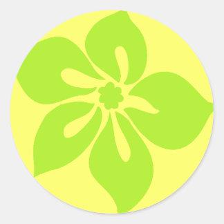 Pegatina del hibisco feliz en amarillo cal