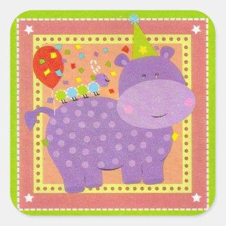 Pegatina del hipopótamo del cumpleaños