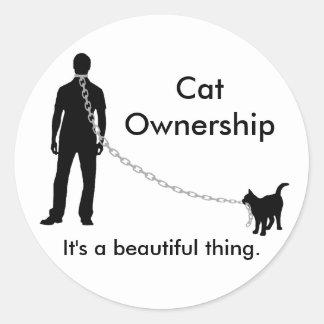 Pegatina del hombre del dueño del gato