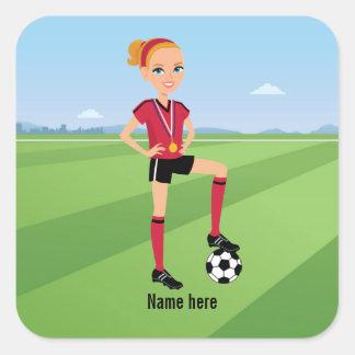 Pegatina del juego del fútbol del chica