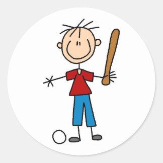 Pegatina del jugador de béisbol del muchacho