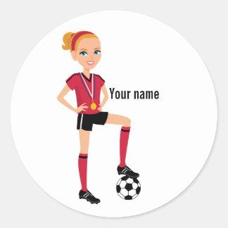 Pegatina del jugador de fútbol del chica