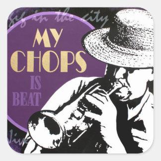 Pegatina del jugador de trompeta del jazz