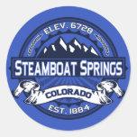 Pegatina del logotipo del color de Steamboat