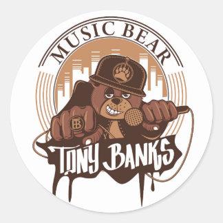 Pegatina del logotipo del oso de la música
