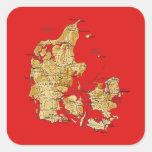 Pegatina del mapa de Dinamarca