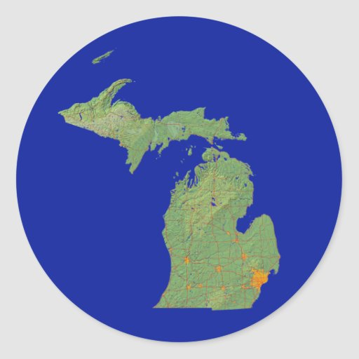 Pegatina del mapa de Michigan