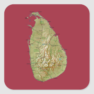 Pegatina del mapa de Sri Lanka