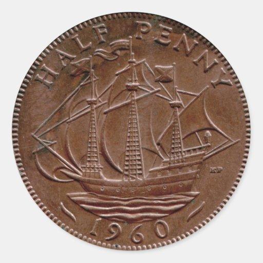Pegatina del medio penique de 1960 Británicos