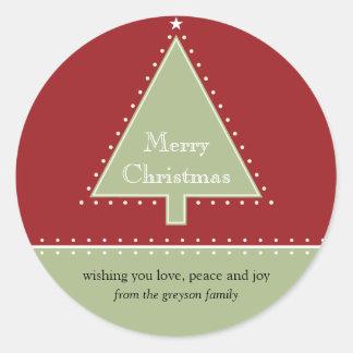 Pegatina del mensaje del regalo del árbol de navid