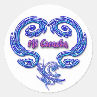 Pegatina del MI Corazon (español - blanco)