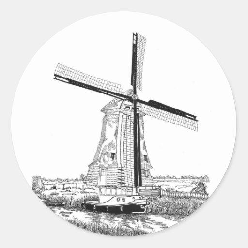 Pegatina del molino de viento y del barco