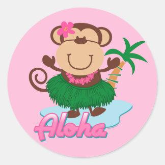 Pegatina del mono de la hawaiana