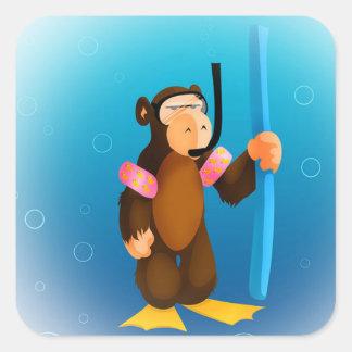 Pegatina del mono del equipo de submarinismo
