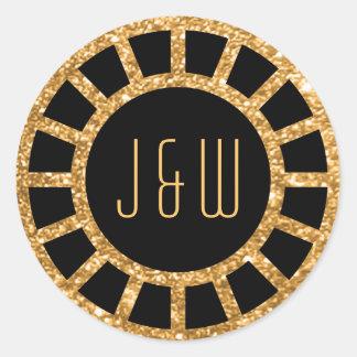 Pegatina del monograma de Gatsby de la fan del art