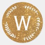 Pegatina del monograma de la guirnalda del oro