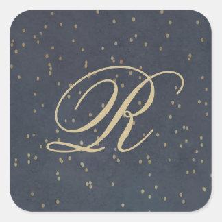 Pegatina del monograma de la noche estrellada