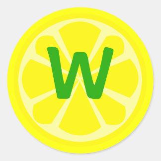 Pegatina del monograma de la rebanada del limón