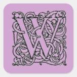 Pegatina del monograma de W