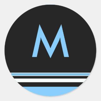 Pegatina del monograma del azul y de la raya negra