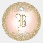Pegatina del monograma del brillo del oro 311