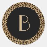 Pegatina del monograma del estampado leopardo