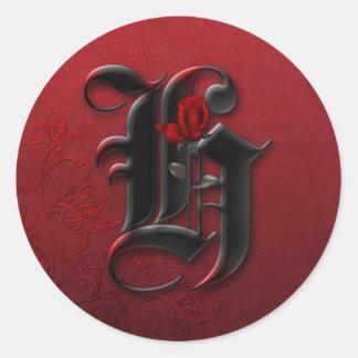 Pegatina del monograma H del rosa negro y rojo