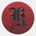Pegatina del monograma K del rosa negro y rojo