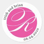Pegatina del monograma para Trish y Brian