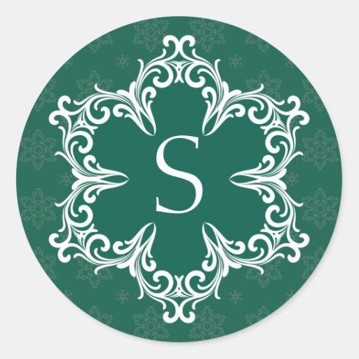 Pegatina del monograma S del invierno en pino