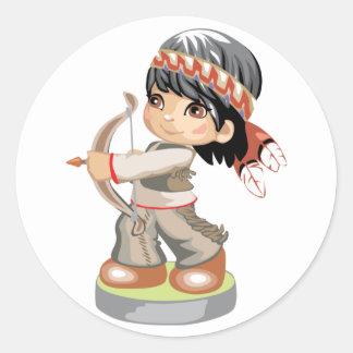 Pegatina del muchacho del nativo americano