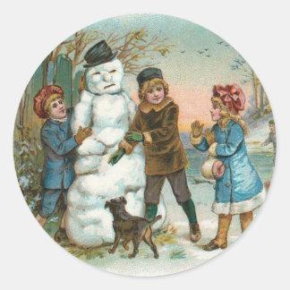 Pegatina del muñeco de nieve del vintage