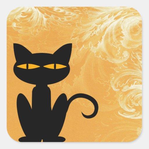 Pegatina del naranja de Swirly del gato negro