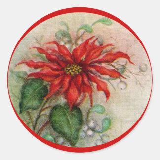 Pegatina del navidad de la flor del Poinsettia del