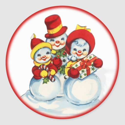 Pegatina del navidad de la gente de la nieve del