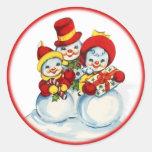 Pegatina del navidad de la gente de la nieve del v