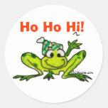 Pegatina del navidad de la rana del dibujo animado