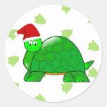 Pegatina del navidad de la tortuga